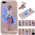 Rubber Pattern Transparent Soft TPU Slim Cover Case For iPhone 5G 6 6S 7 Plus SE