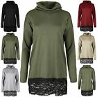 Womens Batwing Long Sleeve High Polo Cowl Neck Lace Trim Baggy Ladies Jumper Top
