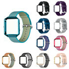 Woven Nylon/Silicone Watch Band Strap w/Classic Buckle Frame for Fitbit Blaze