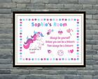 Unicorn Personalised Word Art Wall Print Room Sign-Gift idea *Birthday*Punk*Emo