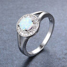 Lady's Charm White Round Opal Solitaire Ring Hollow White Gold Jewelry Size6-9