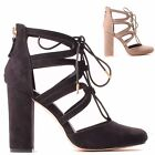LADIES WOMENS BLOCK HIGH HEEL ANKLE CLOSED TOE STRAPPY SANDAL FASHION SHOES SIZE