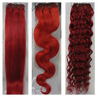 """AAA 15""""-36"""" Real Soft Weft Human Hair Extensions Straight Wavy Curly Hair #Red"""