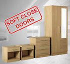 Zilato 4 Piece Mirrored Bedroom Furniture Set -wardrobe-drawer Chest-bedside-oak