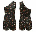 UK Ladies One Shoulder All In One Playsuit Womens Summer Floral Mini Beach