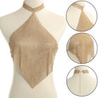 Women Halter Sleeveless Backless Bling Rhinestone Vest Sequins Crop Top Dazzling