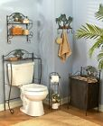 Palm Tree Themed Bath Accessories Bronze 3D Floral Accent Tropical Coastal Deco