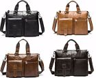 Genuine Leather Mens Bag Briefcases Leather business Computer Laptop Bag Cross