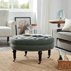 Round Ottoman Large Tufted Upholstery Bedroom with Caster Wheel, Gray / Beige
