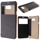 Black Luxury PU Window view Flip wallet style Case For Samsung Galaxy Note 5