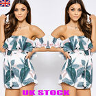 UK Womens Off The Shoulder Mini Playsuits Ladies Casual Beach Jumpsuit Shorts