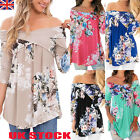 UK Womens Off The Shoulder Floral Shirts Ladies 3/4 Sleeve Floral Tops Blouses