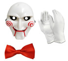 3 PEICE FANCY DRESS SET HALLOWEEN SAW STYLE HORROR PARTY STAG MASK GLOVES BOOK