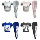 Girl Love Fitness Crop Top & Legging Set Kids Children Outfit 2 PC Sets 7-13 Yrs