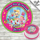 SHOPKINS SHOPPIES EDIBLE ROUND BIRTHDAY CAKE TOPPER DECORATION PERSONALISED