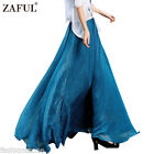 Zaful Women Chiffon High Elastic Waist Skirt Double Layer Long Maxi Beach Dress