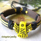 Cool Yak Bone Carved Cute Baby Penguin Leather Fashion Characters Bracelet