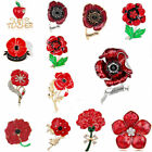 Gift Remembrance Red Flower Crystal Poppy Pin Brooch Women Broach Badge Banquet