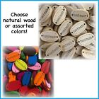 """Handmade"" oval 2 Hole Buttons Natural or Assorted Sewing Crafts doll wood tag"