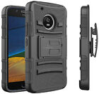 For Motorola Moto E4 Heavy Duty Hard Armor Tough Case Cover w/ Belt Clip Holster
