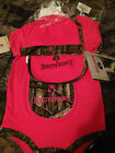 Browning Baby Mossy Oak Camo & Fuscia Pink 4 Piece Set 18 & 24 Month