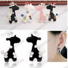 CUTE GIRAFFE clip on EARRINGS animal kitsch clips ENAMEL rhinestone CRYSTAL