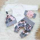 3PCS Newborn Baby Girls Princess Top Romper Long Pants Hat Outfits Clothes 0-24M