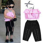 Fashion Girls Kids Toddler Halter Tops Elastic Pants 2Pcs Outfits Set Clothes