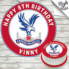 CRYSTAL PALACE FOOTBALL CLUB ROUND BIRTHDAY CAKE TOPPER DECORATION PERSONALISED