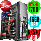 Thermaltake Versa N25 AMD RYZEN 7 1700 16GB RX570 Gaming Desktop Computer PC NEW