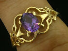 R143- Genuine 9K Solid Gold Natural Garnet Amethyst Peridot Topaz Filigree Ring