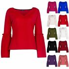 Womens Ladies Crepe Casual V Neck Frill Flared Bell Long Sleeve Tee T Shirt Top