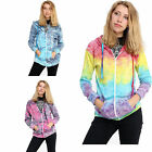 New Womens Hippy Style Tie Dye Print Zip Up Hooded Chill Coat Jacket Top