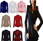 NEW WOMEN'S FRILL CROPPED PEPLUM ONE BUTTON OFFICE WORK SLIM FIT TAILORED BLAZER
