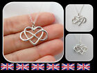 """925 Sterling Silver Infinity Love Necklace Open Heart Pendant Jewelry """"Style 75"""""""