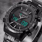 OHSEN Mens Digital Analog Quartz Wrist Watch Chrono Sport Black Stainless Steel