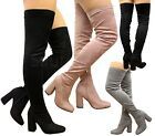 Ladies Womens Over The Knee Thigh High Block Heel Stretch Party Boots Shoes Size