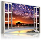 SUNSET SEA 3D Window View Canvas Wall Art Picture Large SIZES W143