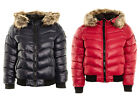 Women's Badge Puffer Jacket Coat Faux Fur Hooded Bommer Padded Quilted Winter Ja