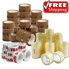 Strong Brown Parcel Packing Tape Sealing rolls 48mm x 90m x Clear fragile