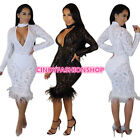 USA Women Sexy V-Neck Key Hole Sequined Mesh Feather Lacy Club Wear Dress