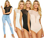 Womens Celebrity Mesh Long V Neck Stretch Short Sleeve Bodysuit Dress Leotard