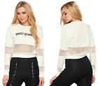 Worst Behaviour Slogan Mesh Crop Jumper Crew Neck Long Sleeve Top Jearsey Celeb
