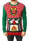 Ugly Christmas Sweater Men's Fireplace Pullover Sweater-Small