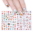 4 Style 3D Nail Sticker Christmas Flower Animal Adhesive Transfer Decal Manicure