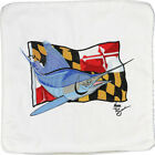 Embroidered Cushion Pillow Cover Marine Art Throw Pillow Marlin/Maryland Flag