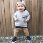 US Newborn Kids Child Baby Boys Long Sleeve Tops Pants Outfits 2Pcs Set Clothes