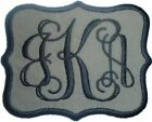 Embroidered Vine Script Name Monogram Iron-On Appliqué Patch Gray Fabric