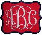 Embroidered Vine Script Name Monogram Iron-On Appliqué Patch Red Fabric
