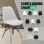 Set of 4 DSW Dining Chair Armchair Wooden Legs Retro Eames Replica White Black
